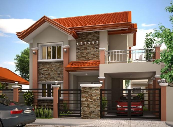 Plano de casa moderna de cuatro pisos