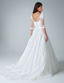 kitty- a floral lace a-line ivory color wedding dress back side