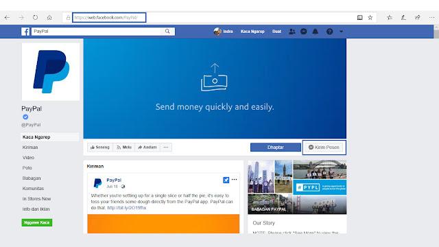fanspage resmi paypal di facebook