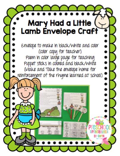 Teacherspayteachers Product Mary Had A Little Lamb Envelope Craft 3823999