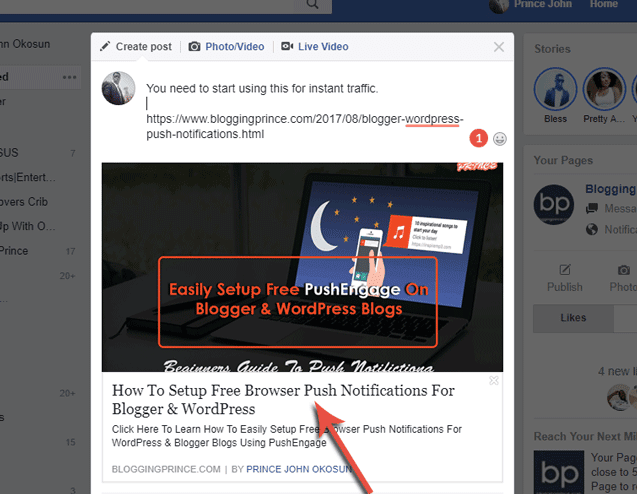 post title in facebook open graph