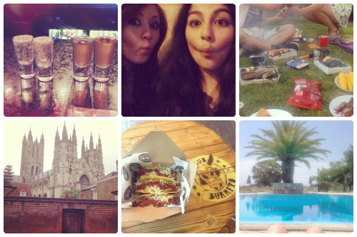 a selection of Instagram shots from francescasoph (francesca sophia); four shots, side by side, on a bar; francesca sophia and a friend pulling faces at the camera; a selection of barbecue meats and grills on a patch of grass; a shot of canterbury cathedral, two tacos in a box on a table; a palm tree over a beautiful pool.