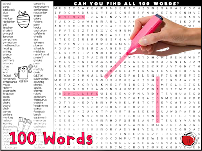 hand highlighting words on back to school word search. 100 words are in the free word search