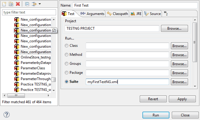 Configure Eclipse to run particular TestNG XML file