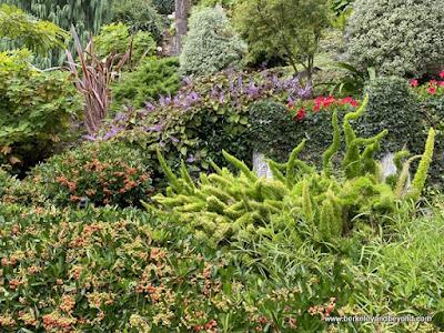floral display at Lake Shrine Meditation Gardens in Pacific Palisades, California