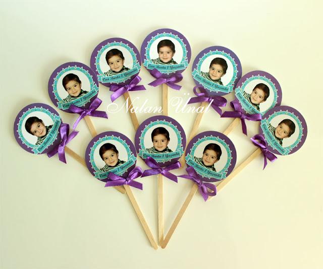 mavi turkuaz temalı cupcake cubuklari
