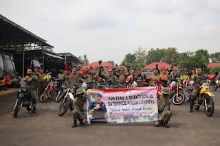 Brimob Peduli, Bersama Komunitas Trail Tribal Lampung Berbagi Sembako