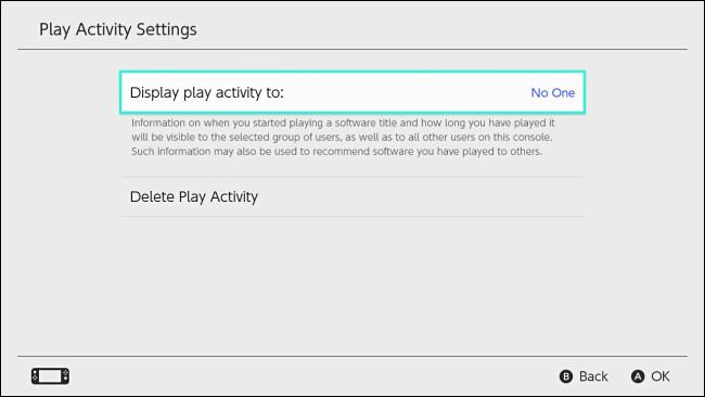 """تم تعيين Nintendo Switch """"عرض نشاط التشغيل على"""" على """"لا أحد""""."""