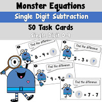 Addition Task Cards Monster Theme