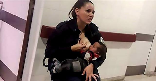 Женщина-полицейский кормит брошенного малыша грудью, потому что сотрудники больницы слишком заняты своими делами