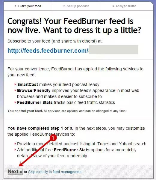 Feedburner-Welcome Message