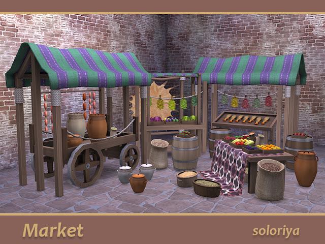 Market Рынок для The Sims 4 В этом наборе есть все для вашего рынка. В набор входит 19 предметов: - телега - овощи - фрукты - виноград - капуста - колбасы - сушеные травы - два типа кувшинов - сушилка с шкурой животного - корзина с семенами - большие и маленькие мешки - стол с ковром - стойло с рыбой - простой ларек - стойло с палаткой - палатка - бочка Автор: soloriya