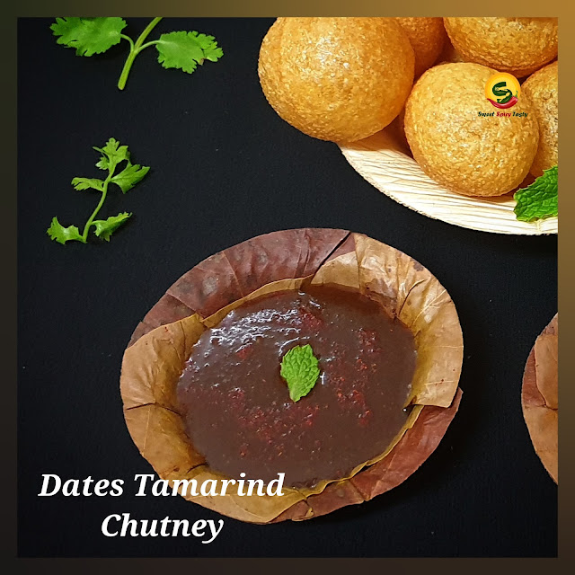 Khajoor Imli Chutney is a very simple recipe using 3 main ingredients Dates(khajoor) , Tamarind (Imli) and jaggery (Gud).   No Desi Chaat is complete without a generous pouring of the khajoor Imli chutney and the spicy green chutney