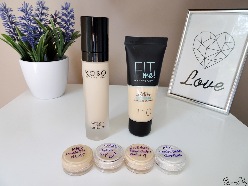 Kobo Mattifying 701, Maybelline Fit Me Matte&Poreless 110, MAC Studio Fix NC15, Tarte Shape Tape Fair, Givenchy Teint Couture Balm 1, MAC Strobe Cream Goldlite