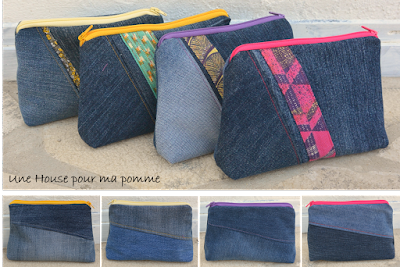 Trousse aux dimensions 17x14x5 cm approximativement. En matériaux jeans denim recyclés assemblés façon patchwork asymétrique, liseré tissu japonais suivant disponibilité et inspiration, surpiqures variée et assorties, fermeture éclair assortie, doublées coton unis beige. Les deux faces sont différentes.