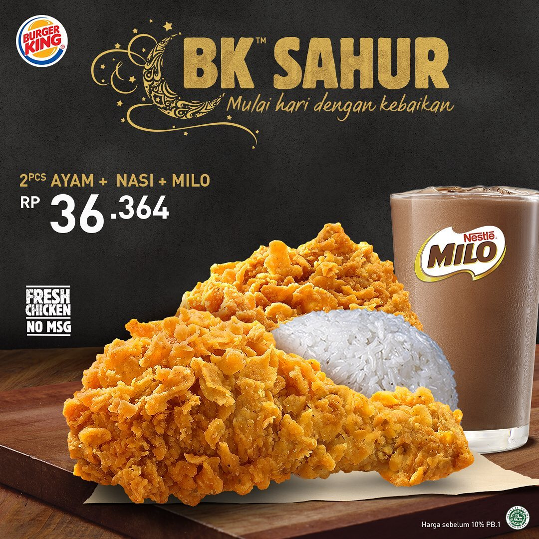 Promo Burger King Paket BK Sahur Spesial Ramadhan Mulai Rp 36.364