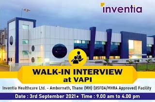 Inventia Healthcare Ltd Recruitment 2021| ITI, B.Sc,  M.Sc, D.Pharm, B. Pharm Candidates | Walk in Interview at Vapi