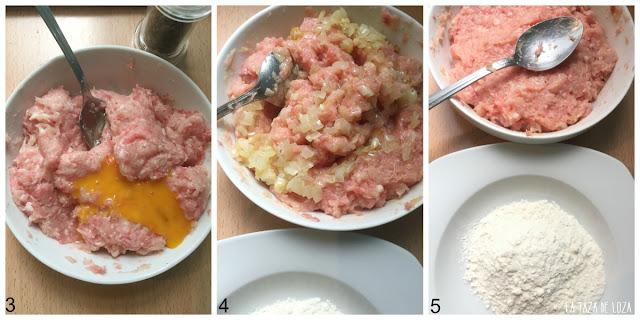 Tres-pasos-de-la-preparación-de-las-bolitas-de-pollo