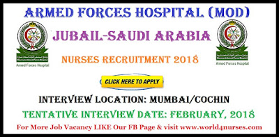 NURSES VACANCY IN ARMED FORCES HOSPITAL (MOD)-Jubail-Saudi Arabia