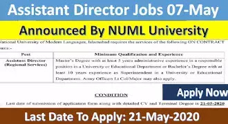 Assistant Director Jobs Announced By NUML University