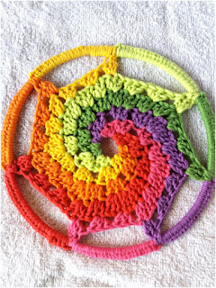 mandala crochet espiral multicolor tutorial