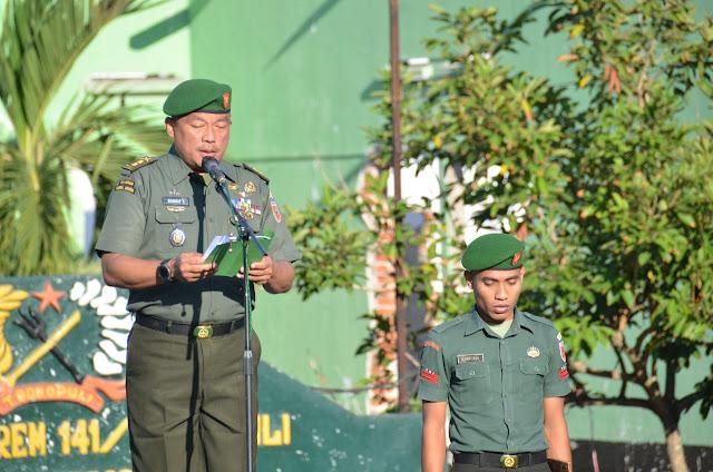 Peringati HAORNAS ke 36, Korem 141/Tp Laksanakan Upacara Bendera