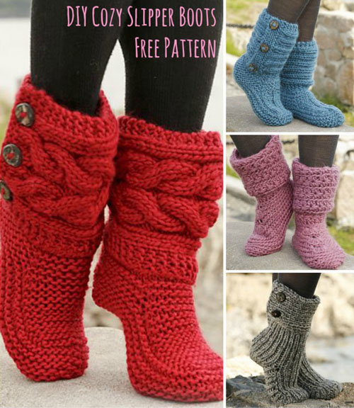 Cozy Slipper Boots -  Free Patterns