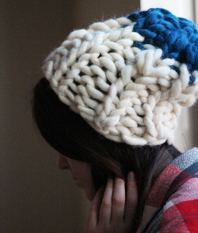 hat knitting tutorial diy craft how to knit a hat maker make makers gonna make handmade fashion chunky roving giant knit fluffy colorblocked wool made in the usa i made this clothing refashion
