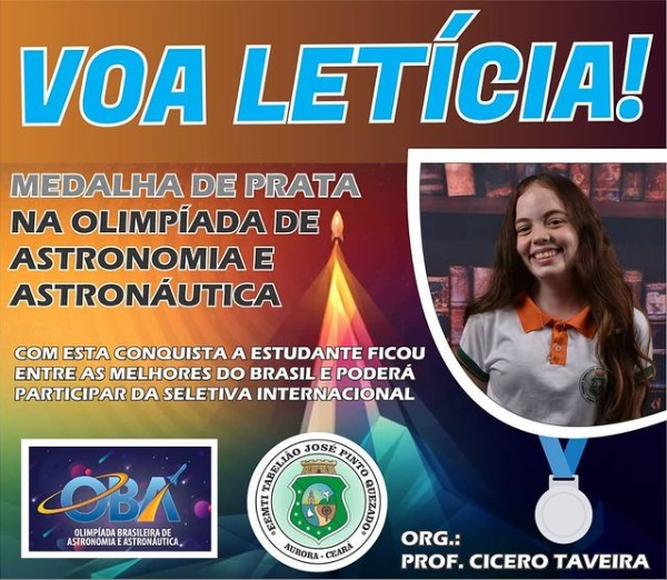 Estudante de Aurora conquista medalha de prata na Olimpíada Brasileira de Astronomia e Astronáutica