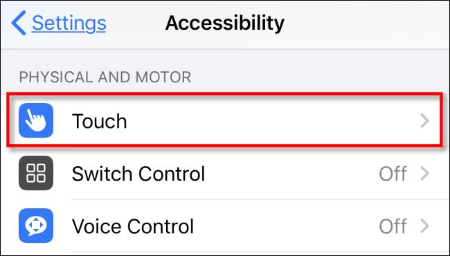 اضغط على Touch في الإعدادات على iPhone أو iPad