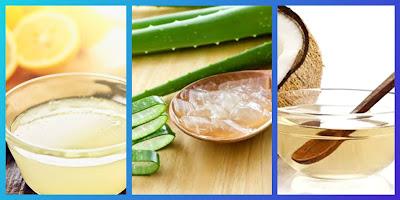 Lemon juice & aloe vera gel & coconut oil