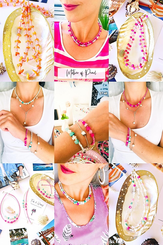 FAB & HAPPY mother of pearl handmade beaded jewelry, nakit sa obojenim perlama