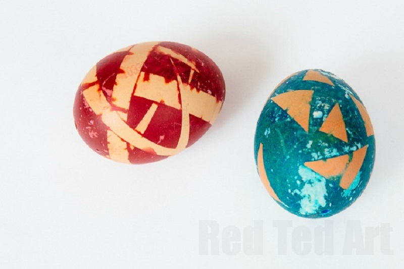 Tape resist decorated Easter eggs