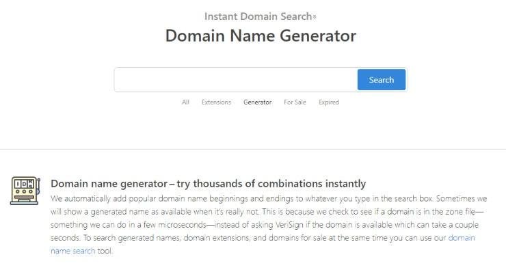 InstantDomainSearch - Generator Memilih Nama Domain