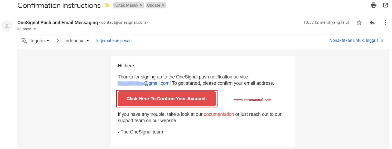 Email konfirmasi akun onesignal