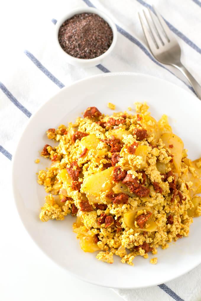 Vegan Scrambled Chorizo with Potatoes