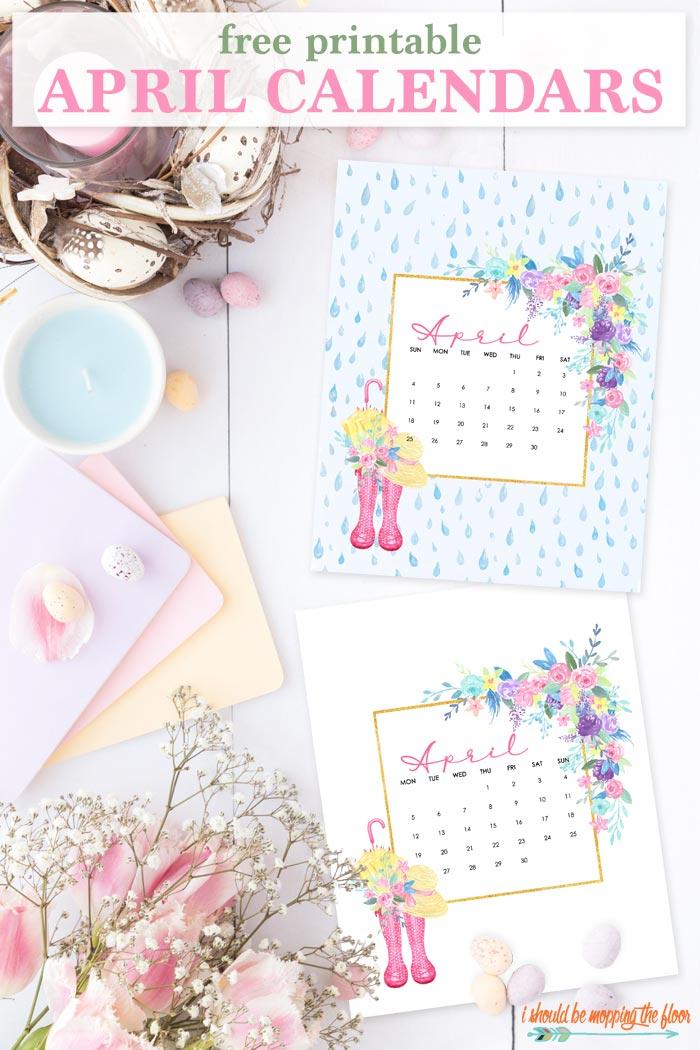 April Calendar Printable