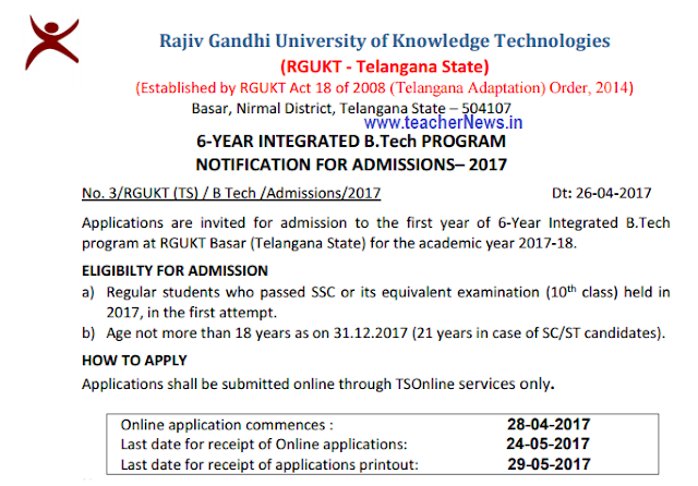 Basara IIIT Admission Online Apply 2017 RGUKT B.Tech last date Online Application
