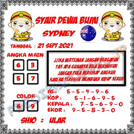 Syair Dewa Bumi Sidney Hari Ini 21-09-2021