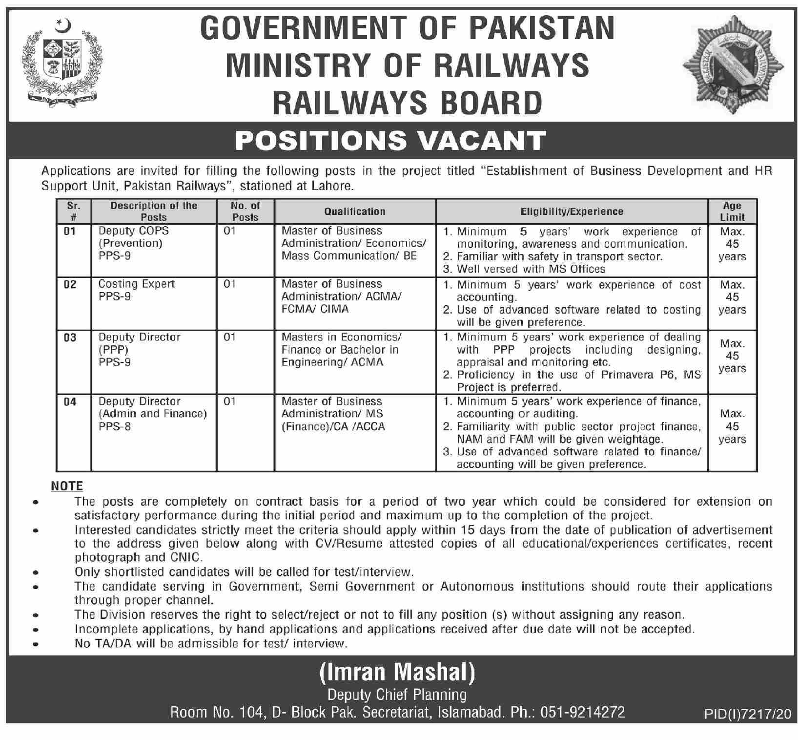 Ministry of Railways Jobs 2021 in Pakistan