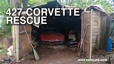Building and roof falling in on Corvette so it must be moved to save it from further damage.