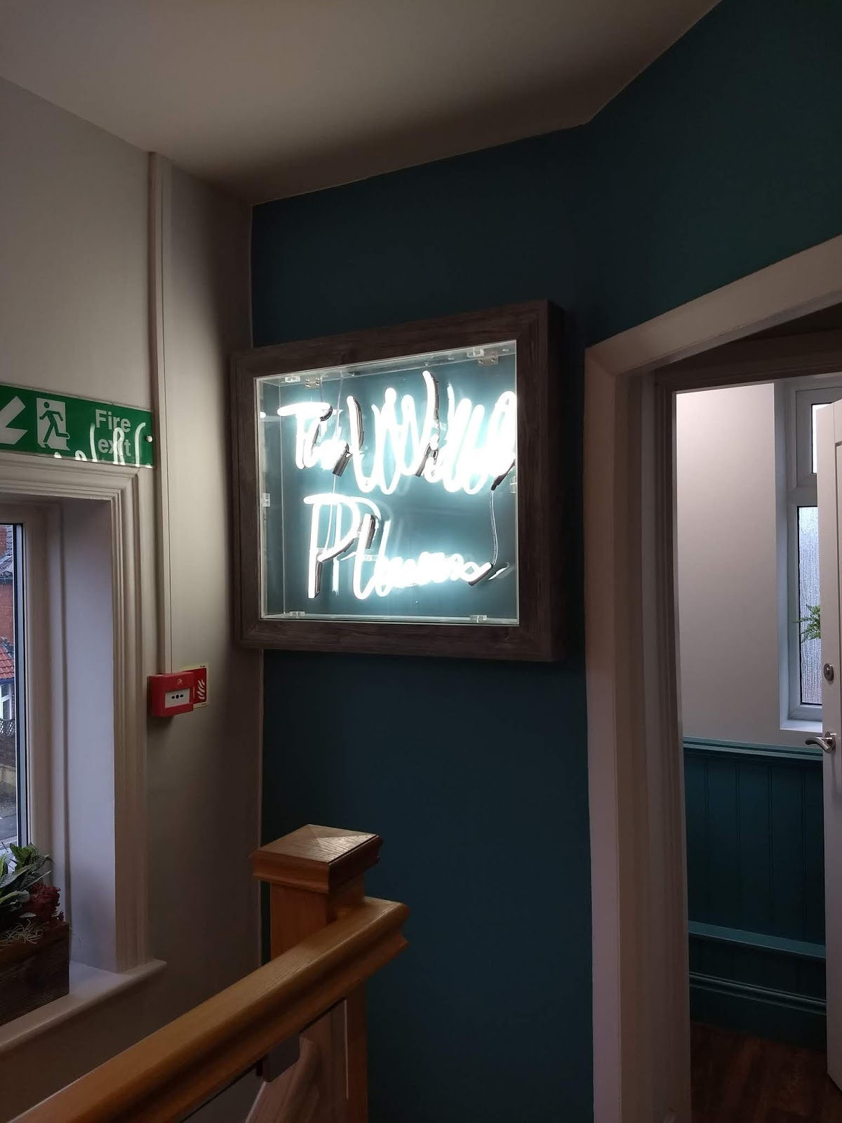 Neon light at The While Plum.