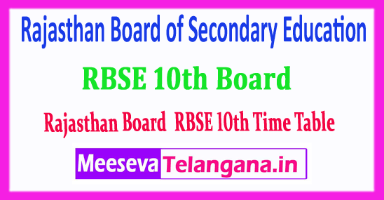RBSE 10th Rajasthan Board of Secondary Education 10th Class Time Table 2019 Download