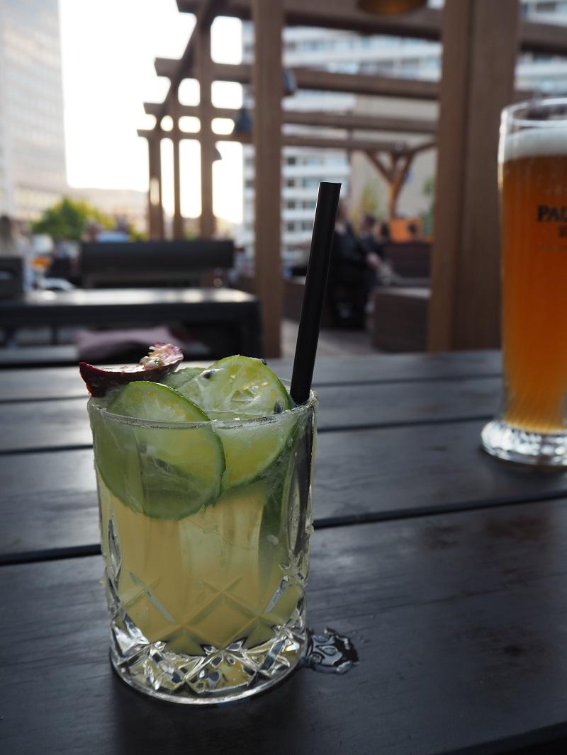 Passionfruit caipirinha at Spreegold Berlin