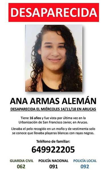 Ana Arnas, joven de 16 años desaparecida en Arucas, Gran Canaria