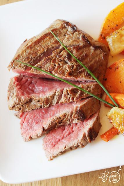 Rumsteak Légumes Rôtis Potimarron choux-raves oignons carottes recette facile rapide pas chère
