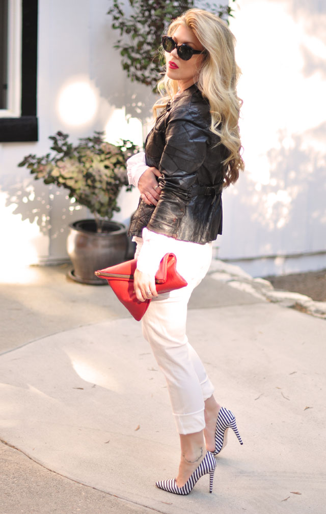 White black and red outfit