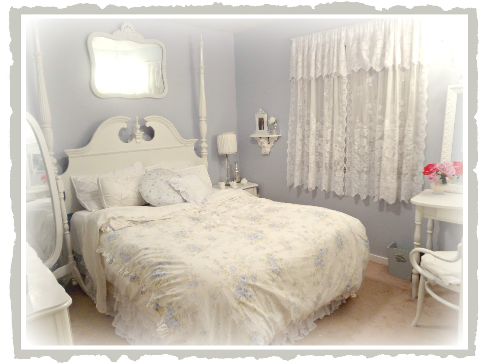 Shabby Chic: Chandelier In Guest Bedroom