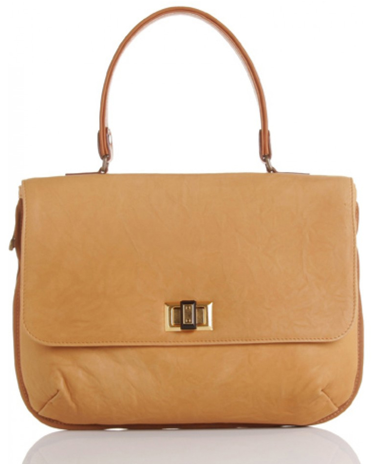 Camel toned bag in soft leather. Single top handle in contrast cognac  leather. Brown grosgrain trimming. Zip on the outside of bag to adjust the  width. 4ffb4cba85dc3