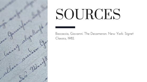 Summary of Giovanni Boccaccio's The Decameron Day 4 Story 2 Sources